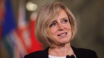 FILE -- Alberta Premier Rachel Notley speaks during a media availability at the Alberta Legislature Building in Edmonton on May 26, 2016. (THE CANADIAN PRESS/Codie McLachlan)