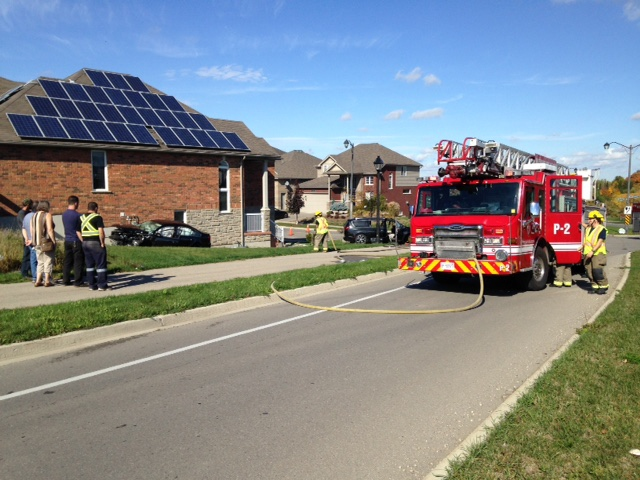A multi-vehicle collision at Columbia Street and Zurich Drive in Waterloo ended with one vehicle nearly hitting a house. (David Pettitt / CTV Kitchener)