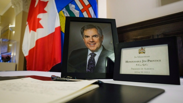 A book of condolence for former Alberta premier Jim Prentice is on display at the MacDougal Centre in Calgary, Alta. on Monday, Oct. 17, 2016. (Jeff McIntosh / THE CANADIAN PRESS)