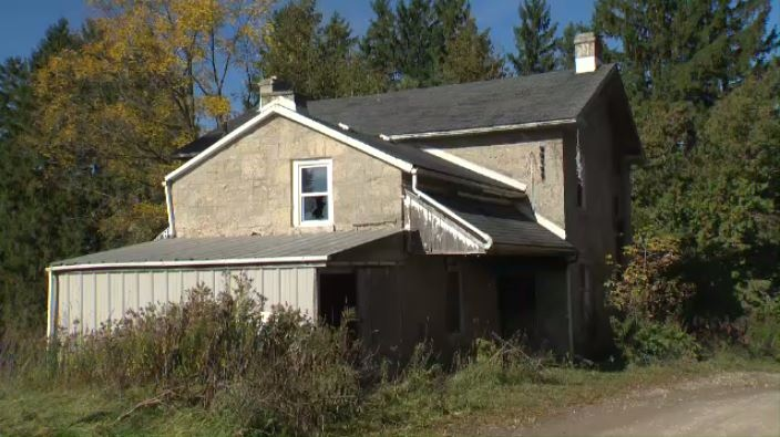 The damage after a fire at a second abandoned house on the Third Line of Guelph-Eramosa on October 19, 2016. (CTV Kitchener)