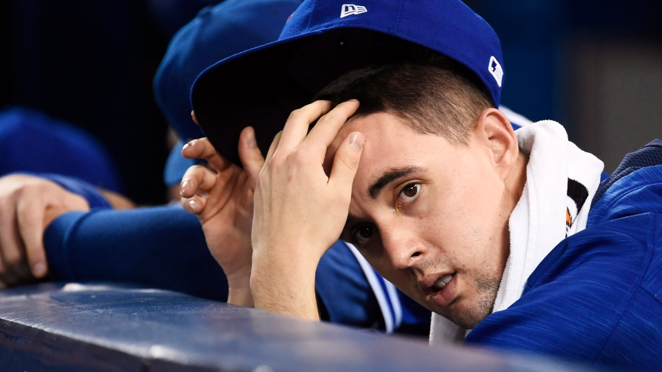 Toronto Blue Jays' Aaron Sanchez (41) looks on during ninth inning, game five American League Championship Series baseball action against the Cleveland Indians in Toronto on Wednesday, October 19, 2016. (Nathan Denette/The Canadian Press)