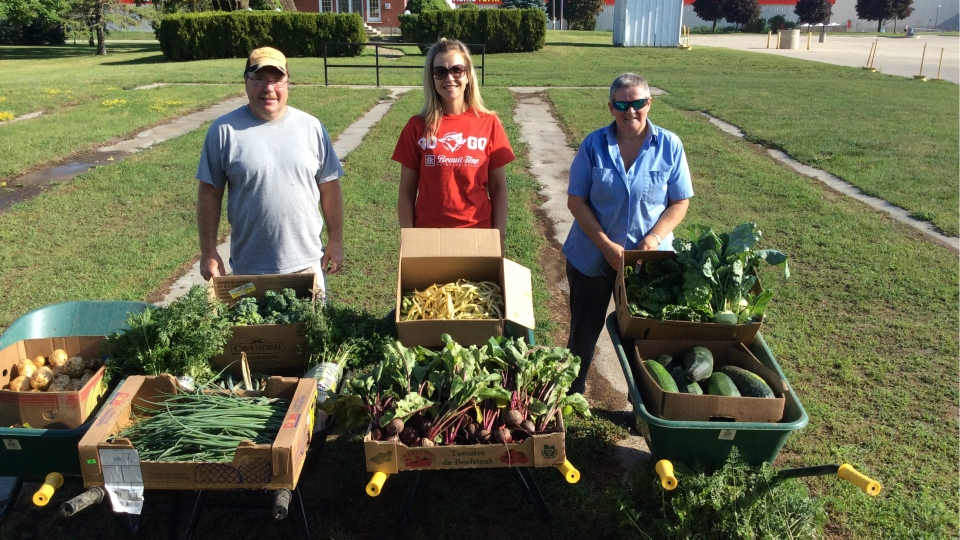 Volunteers from Home Hardware's community garden with some of their vegetables. (Home Hardware)