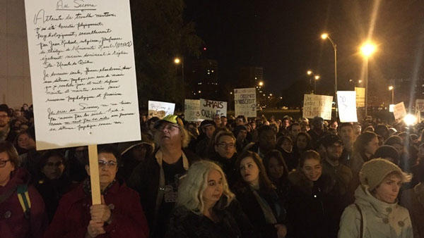 A crowd gathered in Quebec City in support of victims of sexual violence (CTV Montreal / Maya Johnson)