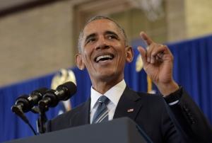 FILE - In this Monday, Oct. 17, 2016 file photo, President Barack Obama speaks during a visit to Benjamin Banneker Academic High School in Washington. (AP Photo/Susan Walsh, File)