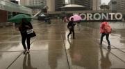 Rain falls at Nathan Phillips Square in downtown Toronto. (Joshua Freeman /CP24)