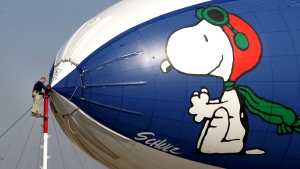 Snoopy on the MetLife blimp at the Bakersfield, Calif., Municipal Airport, on Feb. 6, 2008. (The Bakersfield Californian, Casey Christie / AP)