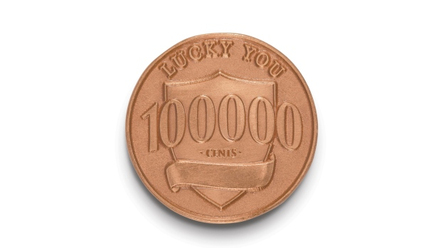 """This photo provided by Ally Bank shows a fake penny that is part of Ally Bank's """"Lucky Penny"""" promotion. ( Ally Bank via AP)"""
