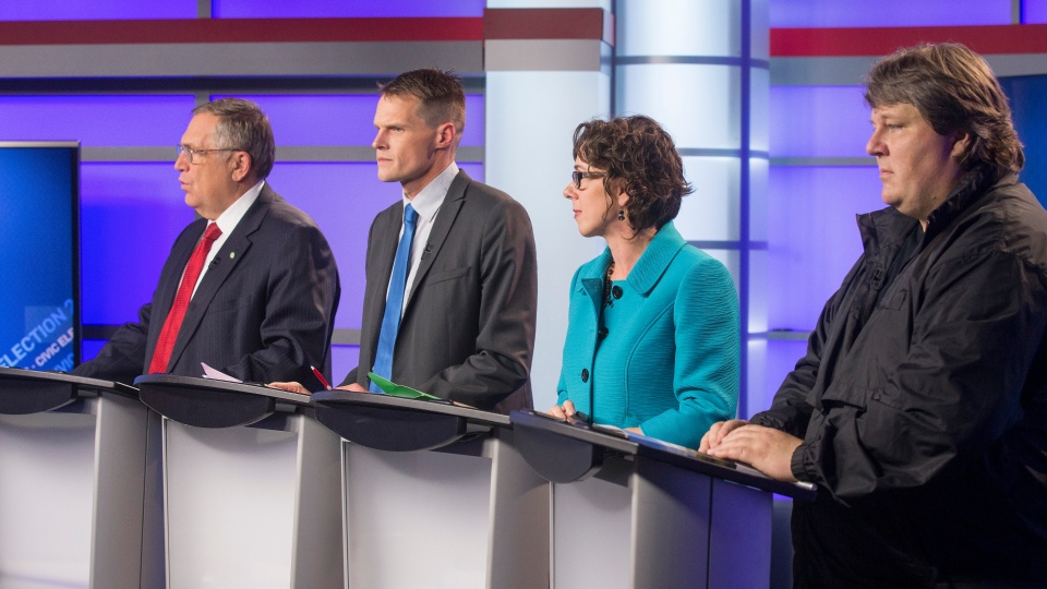Saskatoon's four mayoral candidates (left to right) Don Atchison, Charlie Clark, Kelley Moore and Devon Hein take part in a forum on CTV Saskatoon on Thursday, Oct. 20, 2016. (Gord Waldner/Postmedia)