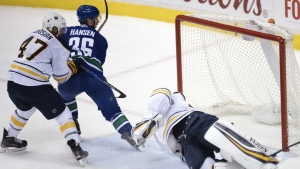 Vancouver Canucks right wing Jannik Hansen scores on Buffalo Sabres goalie Robin Lehner as Buffalo Sabres defenseman Zach Bogosian looks on during first second period of NHL action in Vancouver, B.C. on Thursday, Oct. 20, 2016. (Jonathan Hayward / THE CANADIAN PRESS)