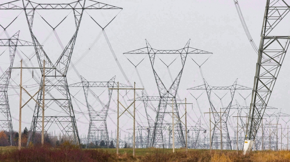 In this Oct. 29, 2009 photo, electric power lines cover the landscape in Levis, Quebec. (Jacques Boissinot/The Canadian Press via AP)