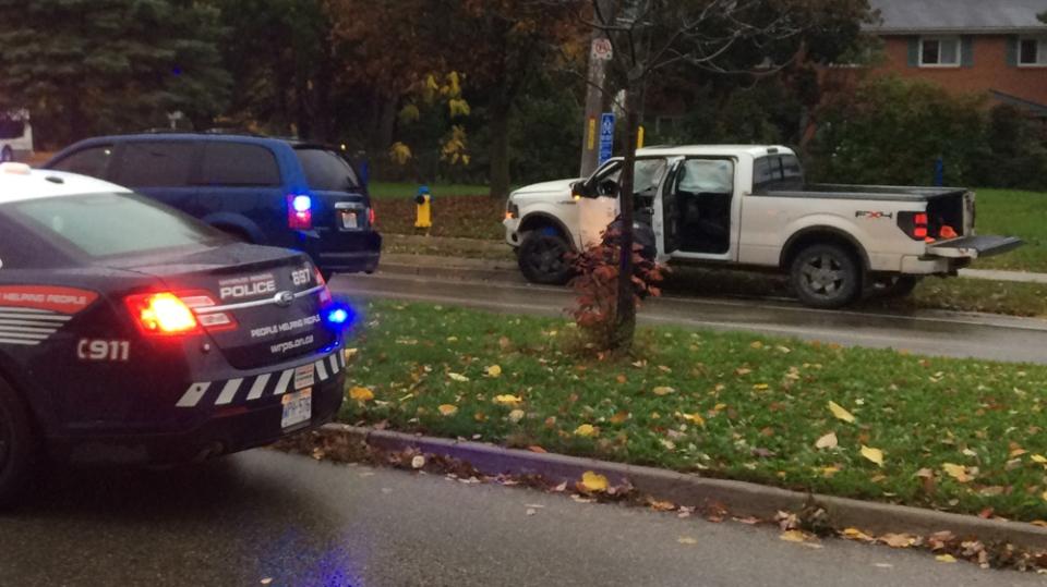 Police vehicles rammed by stolen pickup in Waterloo | CTV Kitchener News