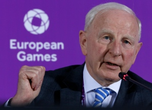 In this June 11, 2015 file photo, Patrick Hickey, the head of the European Olympic Committee speaks during a news conference on the eve of the opening of the 2015 European Games in Baku, Azerbaijan. (AP Photo/Dmitry Lovetsky, File)