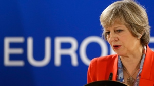 British Prime Minister Theresa May at the EU Summit in Brussels, on Oct. 21, 2016. (Alastair Grant / AP)