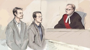 Dellen Millard (left) and Mark Smich appear in court in front of Justice Andrew Goodman in Hamilton, Ont. on Monday, Jan. 18, 2016. (Alexandra Newbould/The Canadian Press)