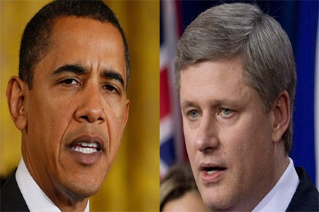 Canadian Prime Minister Stephen Harper and U.S. President Barack Obama are shown in recent file photos. The Prime Minister's Office says U.S. President Barack Obama will visit Canada Feb. 19. (THE CANADIAN PRESS/AP/CP)