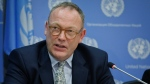 "Ben Emmerson, U.N. special investigator on counter-terrorism and human rights, holds a news conference on migration policies, Friday, Oct. 21, 2016, at U.N. headquarters. Emmerson accused Republican presidential nominee Donald Trump on Friday of peddling ""lies and xenophobia"" by claiming a link between Syrian refugees and Islamic State extremists. (Bebeto Matthews/THE ASSOCIATED PRESS)"