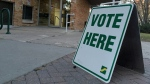 A voting sign sits outside Saskatoon City Hall on Friday, Oct. 21, 2016 during advance polling for the city election. (Jim Barnsley/CTV Saskatoon)