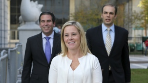 Gov. Chris Christie's former Deputy Chief of Staff Bridget Anne Kelly, centre, leaves Martin Luther King Jr. Courthouse after a hearing, in Newark, N.J. on Wednesday, Oct. 19, 2016. (AP / Mel Evans)