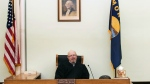 In this undated photo, Montana state District Judge John McKeon is interviewed in his courtroom in Malta, Mont. (Teresa Getten / Havre Daily News)