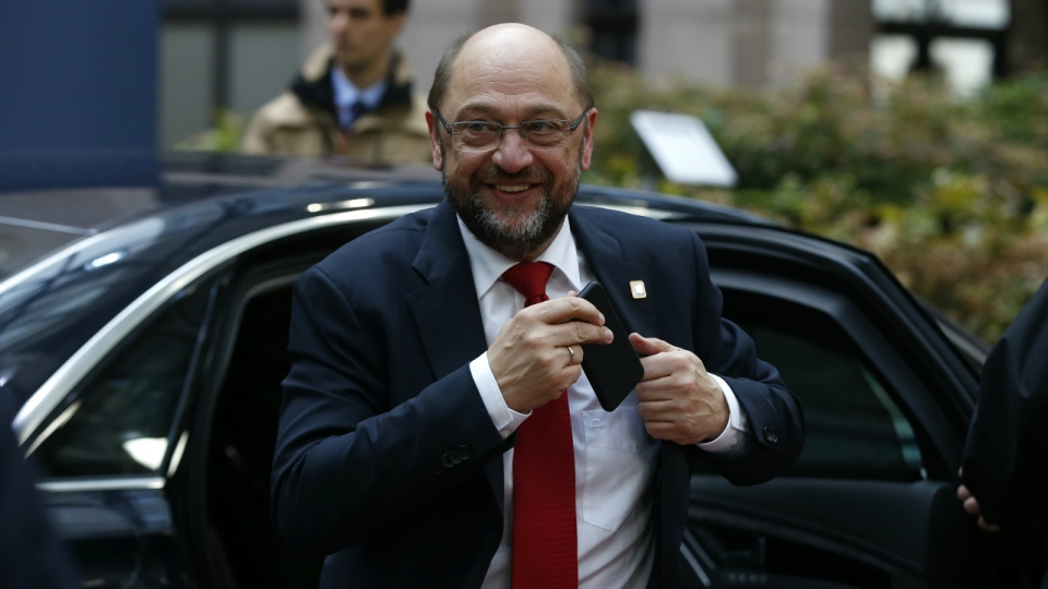 President of the European Parliament Martin Schulz arrives for the EU summit in Brussels on Thursday, Oct. 20, 2016. (AP / Alastair Grant)