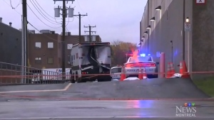 The Garda truck was rammed into and robbed midday in Montreal. (CTV Montreal)