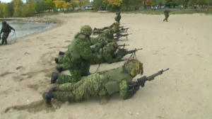 Canadian soldiers conducted military training along Toronto's waterfront on Saturday, Oct. 22, 2016.