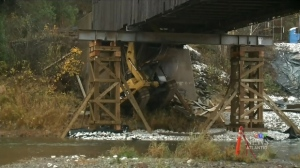 The French Village, N.B. bridge collapsed on Oct. 5, 2016 and has been unusable since. (CTV Atlantic)