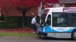 A Guelph Transit driver is shown helping an elderly woman to the bus in this video posted online Oct. 20, 2016. (Dan Kochkovski / YouTube)