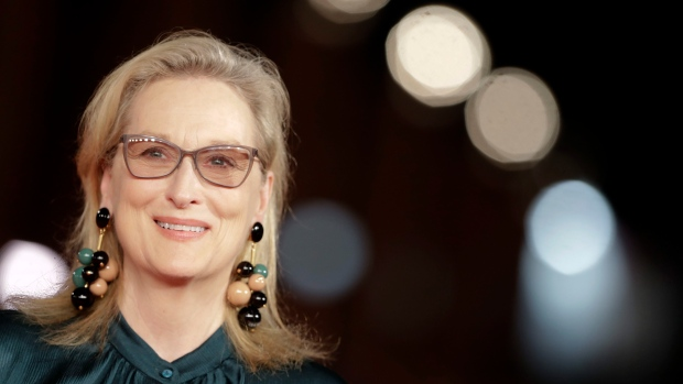 "Actress Meryl Streep poses for photographers as she arrives for the screening of the movie ""Florence Foster Jenkins"", at the Rome Film Festival, in Rome, Thursday, Oct. 20, 2016. (Andrew Medichini/AP)"