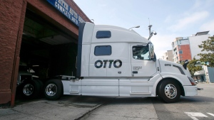 Otto's self-driving, big-rig truck in San Francisco on Aug. 18, 2016. (Tony Avelar / AP)
