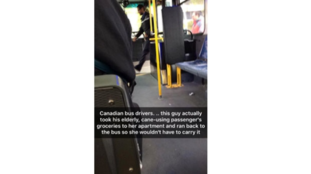 This photo of a Winnipeg bus driver carrying groceries for an elderly passenger has been shared over 350 times on Facebook. (Source: Amber Therrien)