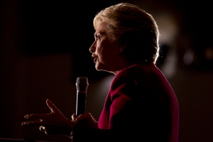 Democratic presidential candidate Hillary Clinton speaks at a rally at Broward College in Coconut Creek, Fla., Tuesday, Oct. 25, 2016. (AP Photo/Andrew Harnik)