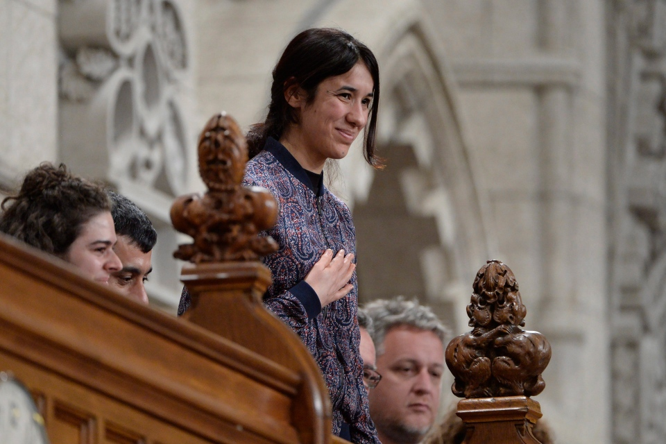 Nadia Mura Basee Taha, Nobel Peace Prize nominee and UN Goodwill Ambassador for the dignity of survivors of human trafficking, is recognized by the speaker after Question Period in the House of Commons on Parliament Hill in Ottawa on Tuesday, October 25, 2016. (THE CANADIAN PRESS/Adrian Wyld)