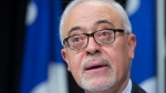 Quebec Finance Minister Carlos Leitao explains his economic update at a news conference Tuesday, October 25, 2016 at the legislature in Quebec City. (Jacques Boissinot/The Canadian Press)