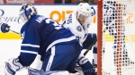 Tampa Bay Lightning centre Steven Stamkos watches the puck go past Toronto Maple Leafs goalie Frederik Andersen during third period NHL hockey action in Toronto on Tuesday, October 25, 2016. (Nathan Denette / THE CANADIAN PRESS)