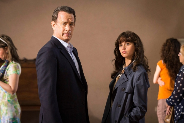 In this image released by Sony Pictures, Tom Hanks, left, and Felicity Jones appear in a scene from, 'Inferno.' (Jonathan Prime / Sony Pictures via AP)