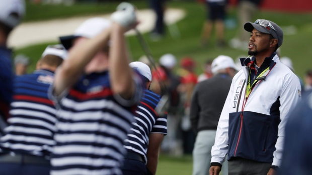 Tiger Woods watches at the Ryder Cup