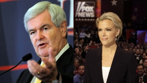 Newt Gingrich, right, and Megyn Kelly in a composite image. (Chris Carlson / The Florida Times-Union / Kelly Jordan)