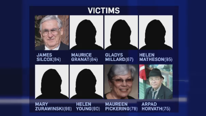 The victims, who ranged in age from 75 to 96, received care at nursing homes in Woodstock, Ont. and London, Ont.