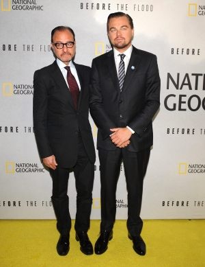 Fisher Stevens, left, and Leonardo DiCaprio attend the premiere of National Geographic Channel's 'Before The Flood,' at the United Nations on Thursday, Oct. 20, 2016. (AP / Invision / Brad Barket)