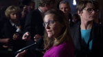 International Trade Minister Chrystia Freeland speaks with the media in the Foyer of the House of Commons following Question Period Wednesday October 26, 2016 in Ottawa. THE CANADIAN PRESS/Adrian Wyld