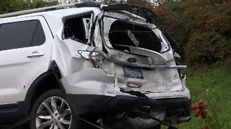 People in two vehicles sustained minor injuries in a chain-reaction crash on the Pat Bay Highway reportedly caused by a buck chasing a doe. Wed., Oct. 26, 2016. (CTV Vancouver Island)