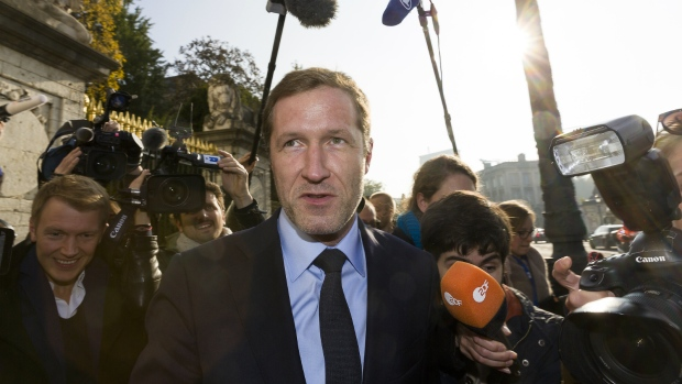 Minister-President of Wallonia, Paul Magnette, speaks with the media during a break in a meeting at the Belgium Prime Minister's residence in Brussels on Wednesday, Oct. 26, 2016. (AP / Thierry Monasse)