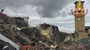 Italy's fire and rescue agency, Vigili del Fuoco, posted a video showing the destruction in Amatrice. (Vigili del Fuoco/Twitter)