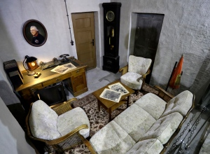 Interior view of a replica of the living room and office of Adolf Hitler pictured in a high-rise bunker, not the original so called 'Fuehrer's-Bunker', in Berlin, Germany, Thursday, Oct. 27, 2016. (AP Photo/Michael Sohn)