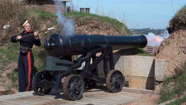 Firing the noon gun at the Halifax Citadel