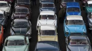 Vintage cars of manufacturer Borgward are pictured in Bremen, northern Germany. (Carmen Jaspersen / dpa / AFP)