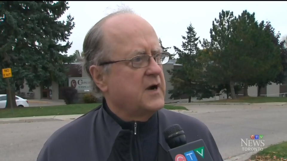 Former Woodstock mayor Michael Harding speaks to CTV News outside the  Caressant Care Long Term Care Home.