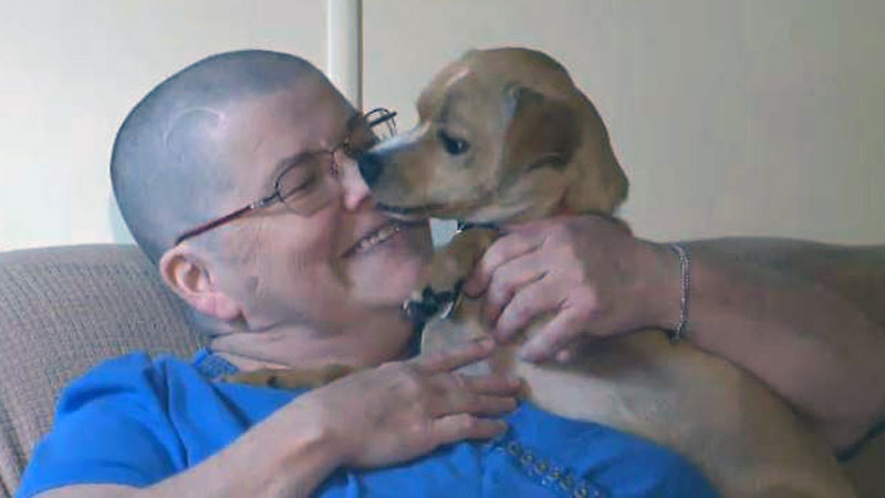 Eva Hachey says she and her rescue dog, Bruno, bonded instantly, and that bond would save her life.
