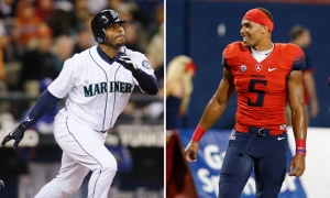 At left, in an Oct. 3, 2009, file photo, Seattle Mariners' Ken Griffey Jr. hits a solo home run against the Texas Rangers during the fourth inning of a baseball game in Seattle.  At right, Arizona wide receiver Trey Griffey (5) smiles during the first half of an NCAA college football game in Tucson, Ariz. on Sept. 10, 2016.  (AP)
